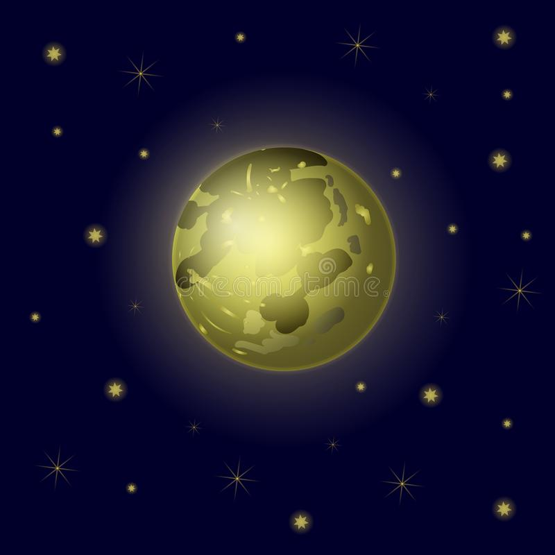 Vector Full Moon and Stars, Sky Background, Galaxy Backdrop. royalty free illustration