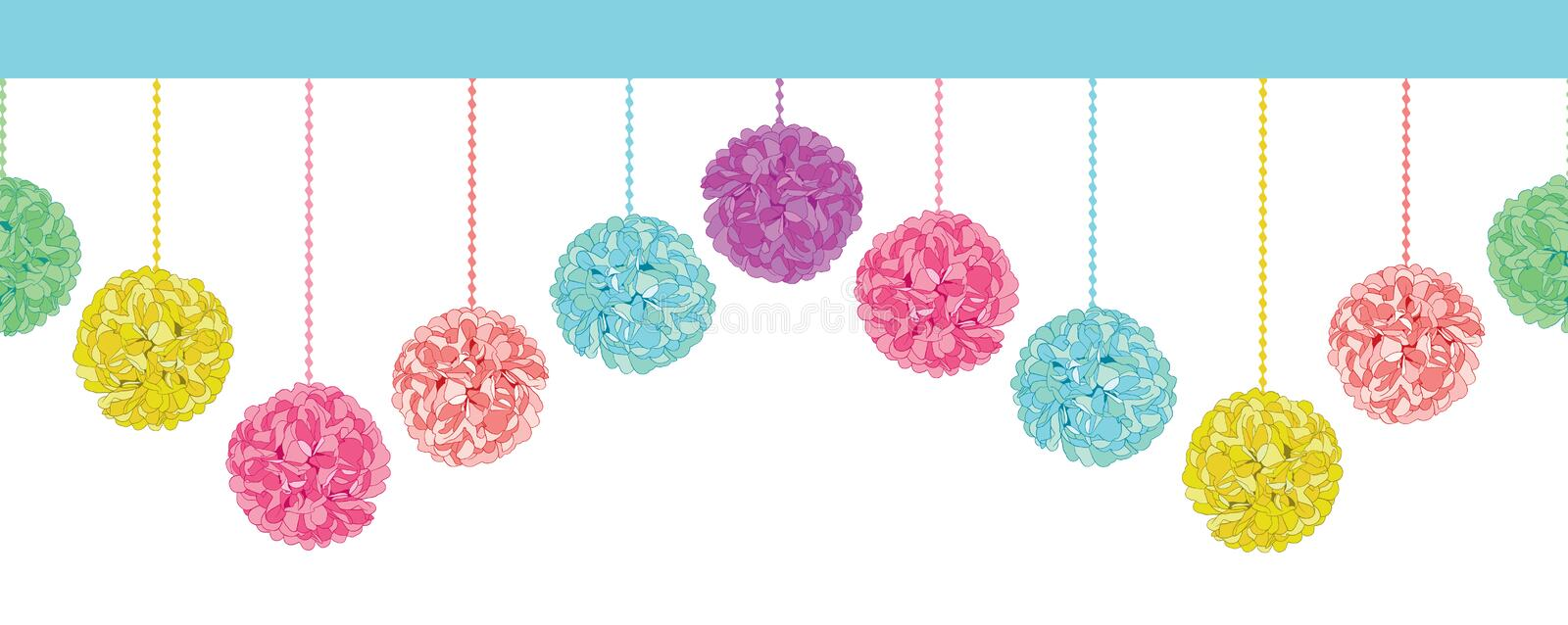 Vector Fun Set of Hanging Pastel Colorful Birthday Party Paper Pom Poms Set Horizontal Seamless Repeat Border Pattern stock illustration