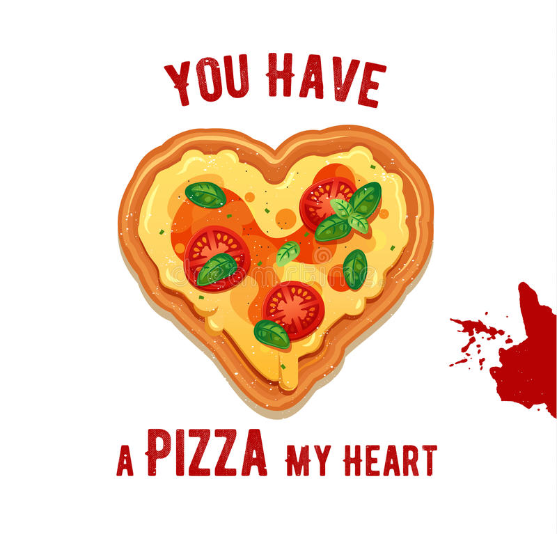 Download Vector Fun Valentine Day Card You Have A Pizza My Heart. Stock  Vector