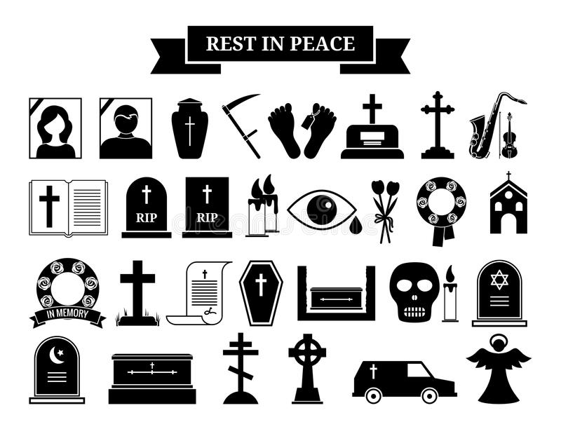 Vector funeral icons stock illustration
