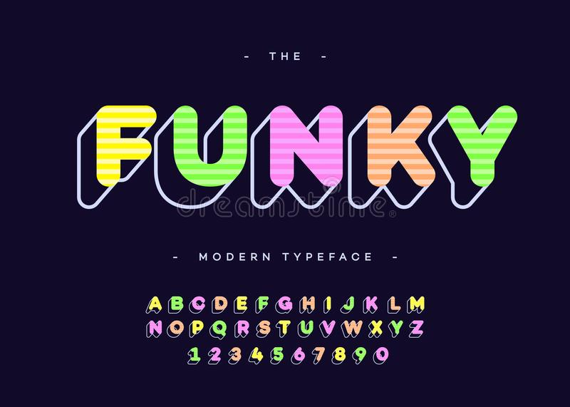 Vector funky alphabet 3d bold typography colorful style royalty free illustration