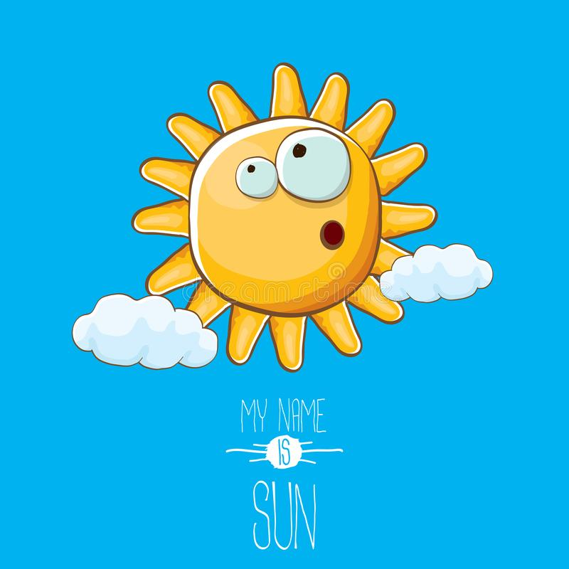 Vector funky cartoon style summer sun character on blue sky background. My name is sun concept illustration. funky kids royalty free illustration