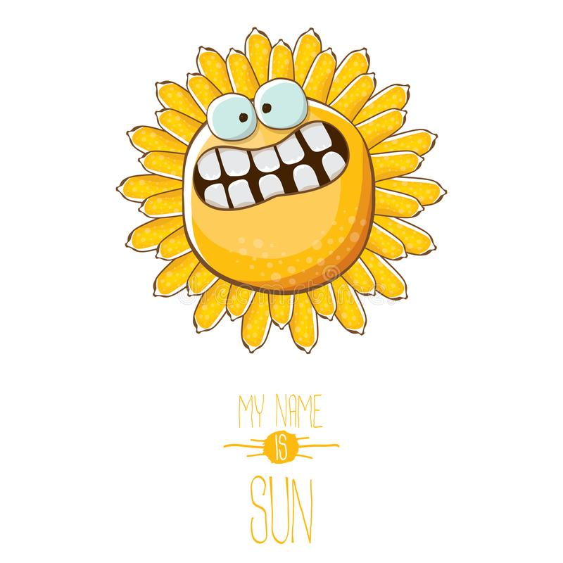 Vector funky cartoon style summer sun character isolated on white background. My name is sun concept illustration. funky. Vector funky cartoon summer sun royalty free illustration
