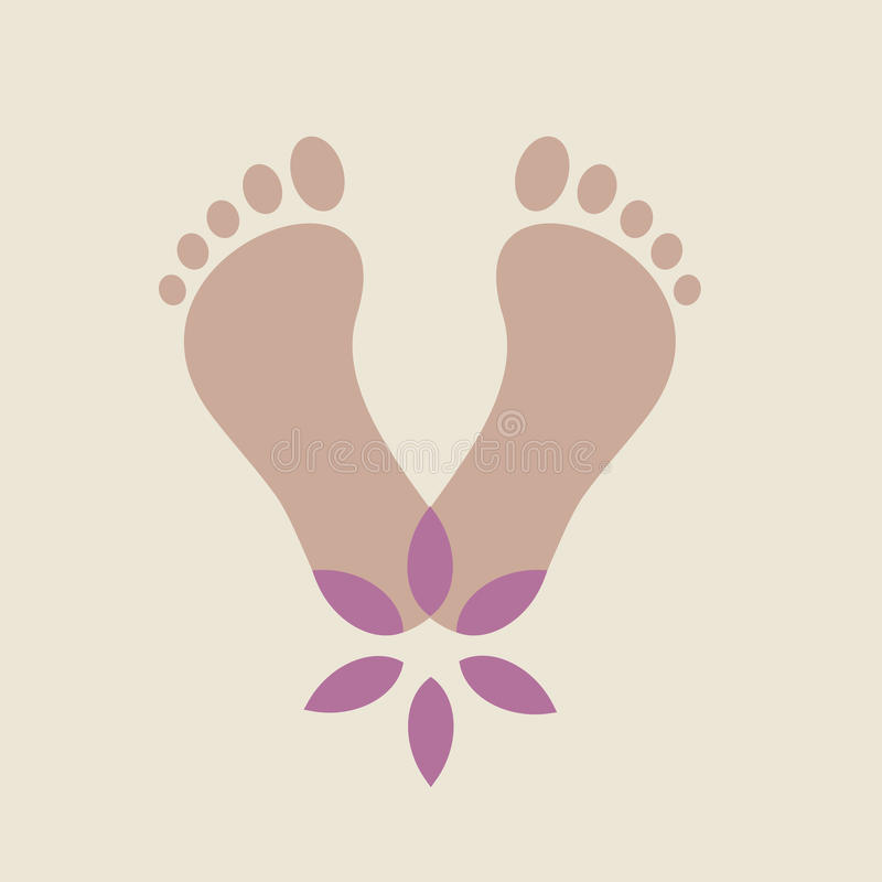 Vector funky foots with flower stock illustration
