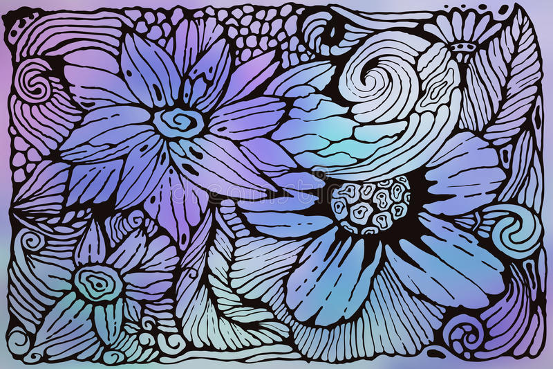 Vector Funky Patroon met Bloemen stock illustratie