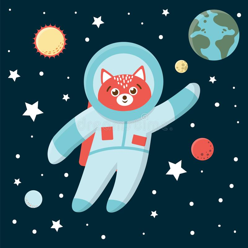 Vector funny astronaut fox in space with planets and stars. vector illustration