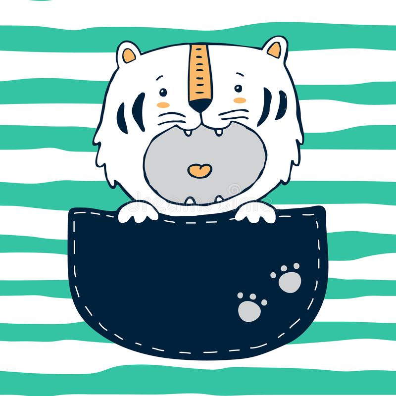 Tiger in the pocket. Vector funny baby tiger in big pocket with paws royalty free illustration