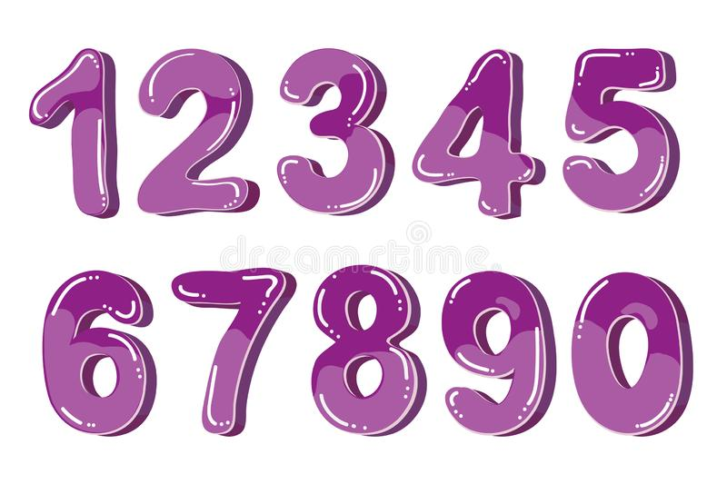 Vector funny cartoon bubble numbers Isolated on white background vector illustration
