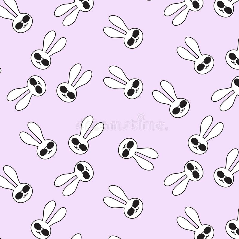 Vector funny cartoon bunny in sunglasses pattern. Cool kids spring decoration. Stylish hipster rabbits royalty free illustration