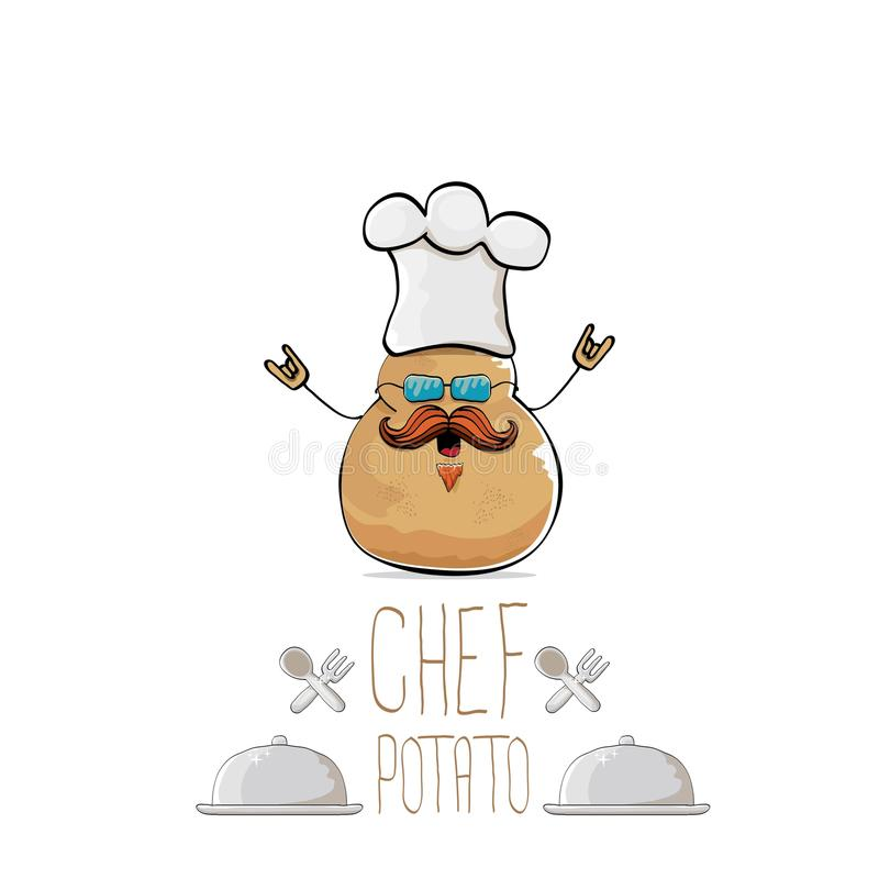 Vector funny cartoon cute brown chef potato with mustache and beard stock illustration