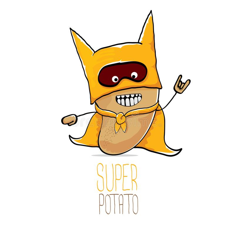 Vector funny cartoon cute brown super hero potato with orange hero cape and hero mask isolated on white background. My stock illustration
