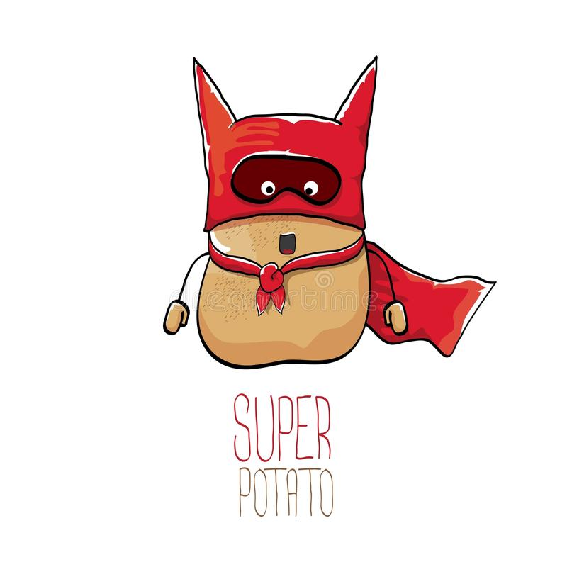 Vector funny cartoon cute brown super hero potato with red hero cape royalty free illustration