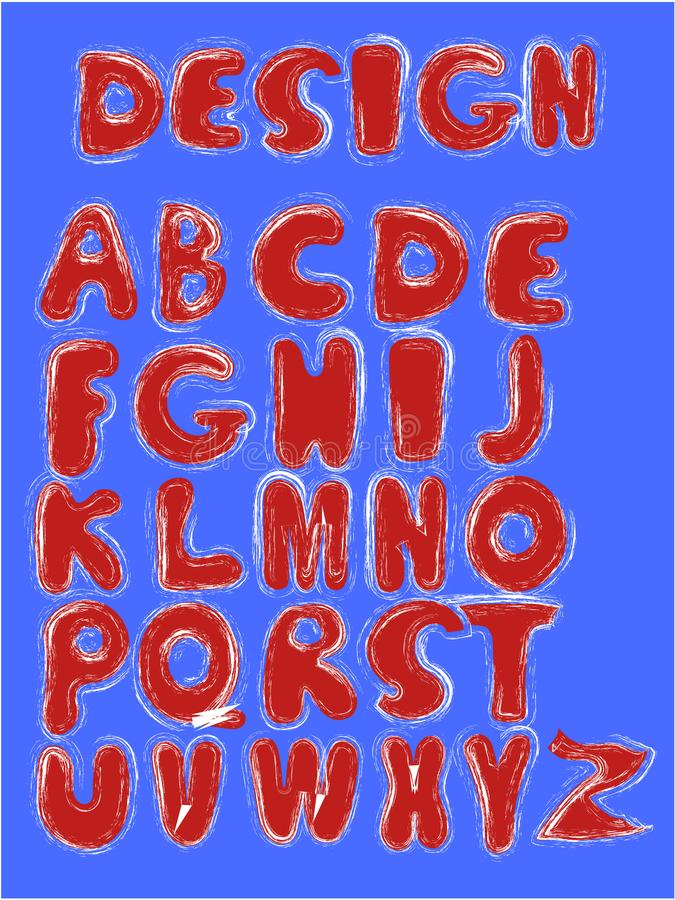 Vector funny cartoon hand drawn marker colorful uppercase alphabet. Red letters. With blue outline royalty free stock photos