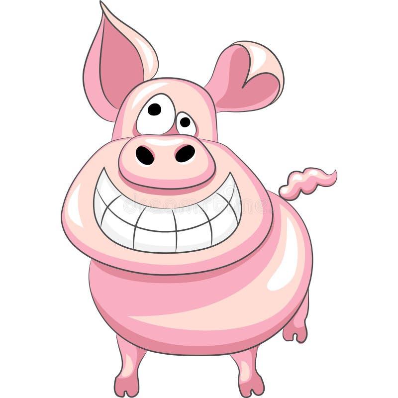 vector Funny cartoon happy pig stock illustration