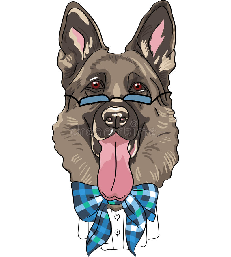 Vector funny cartoon hipster dog German shepherd. Hipster dog German shepherd breed in a blue glasses and bow tie