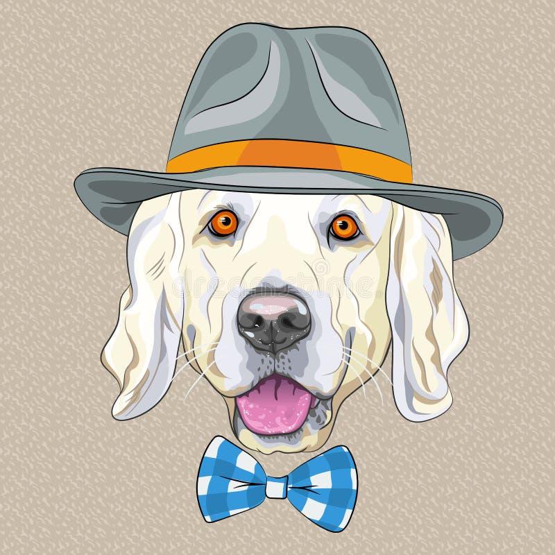 Vector funny cartoon hipster dog Golden Retriever. Hipster dog Golden Retriever breed in a gray hat and tartan bow tie