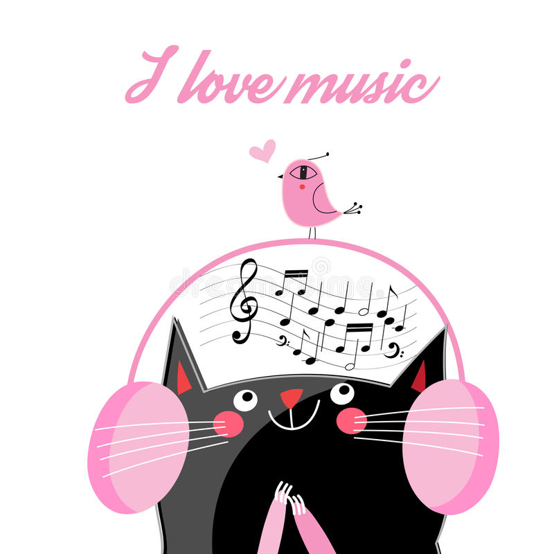 Vector funny cat in headphones vector illustration