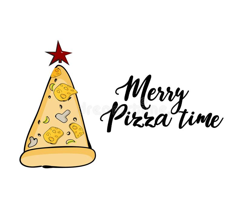 Vector funny Christmas greeting card with pizza evergreen tree and star. Merry pizza time quote text. Digital funny royalty free illustration