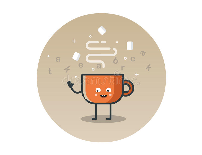 Vector funny cocoa cup cartoon character royalty free stock photos