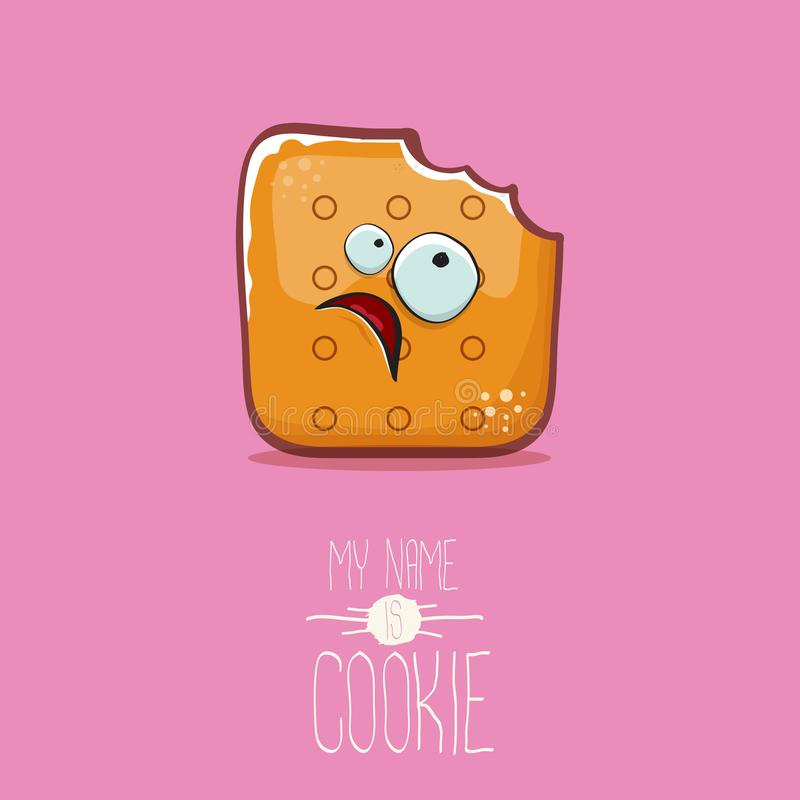 Vector funny cookie character isolated on pink background. My name is cookie concept illustration. funky food character. Vector funny hand drawn cookie character stock illustration