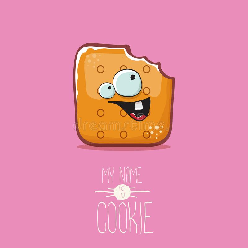 Vector funny cookie character isolated on pink background. My name is cookie concept illustration. funky food character. Vector funny hand drawn cookie character royalty free illustration