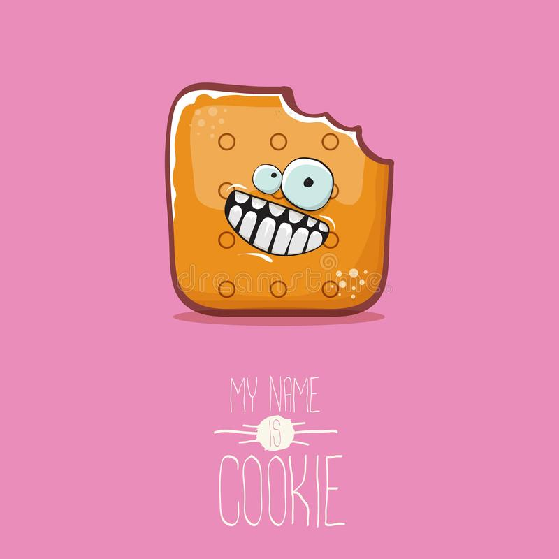 Vector funny cookie character isolated on pink background. My name is cookie concept illustration. funky food character. Vector funny hand drawn cookie character vector illustration