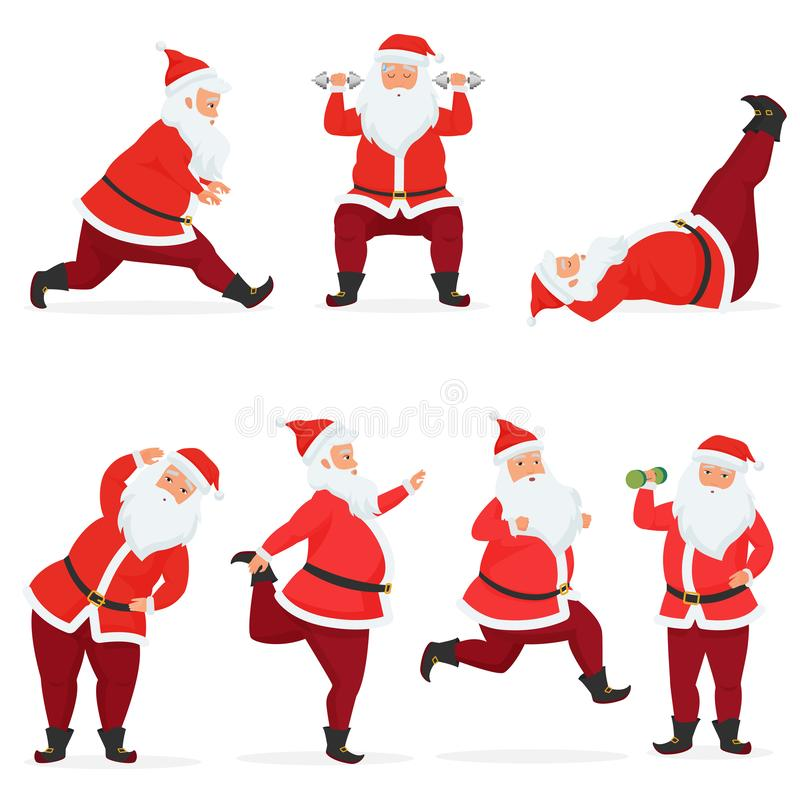 Vector funny and cute Santa Claus set does gym exercises with dumbbells and barbell isolated. Sport fitness santa. vector illustration