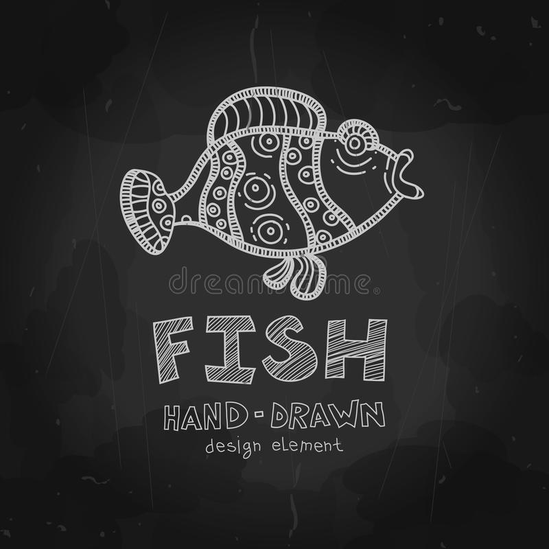 Vector Funny Fish Parrot Illustration Chalkboard Style Design Element Menu Cover Seafood Restaurant Retro Vintage Typographic Elements