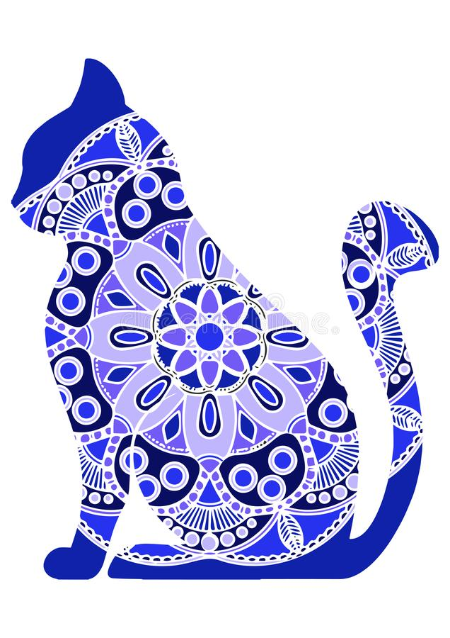 Vector funny graphic cats with floral ornament stock illustration