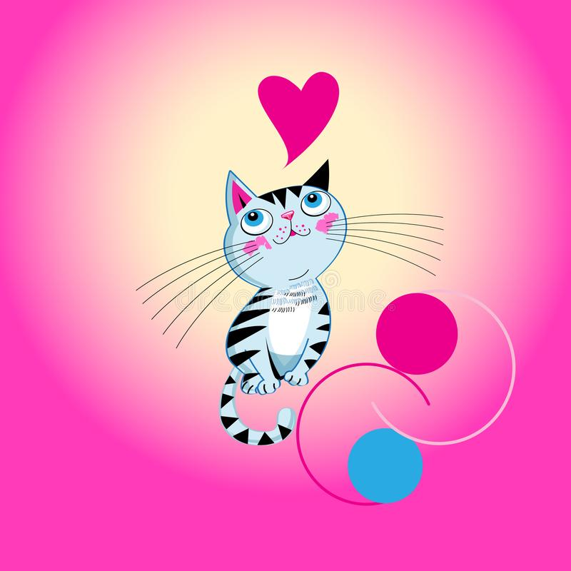 Vector funny kitten in love with a heart stock illustration