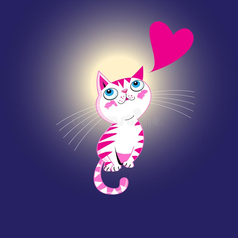 Vector funny kitten in love with a heart vector illustration