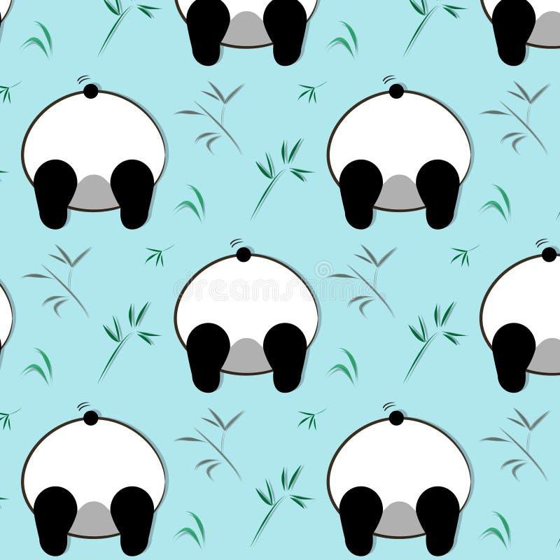 Vector funny panda pattern. White black bear cartoon children illustration. Animal wild print. Baby character decoration. Vector funny panda pattern. White black stock illustration