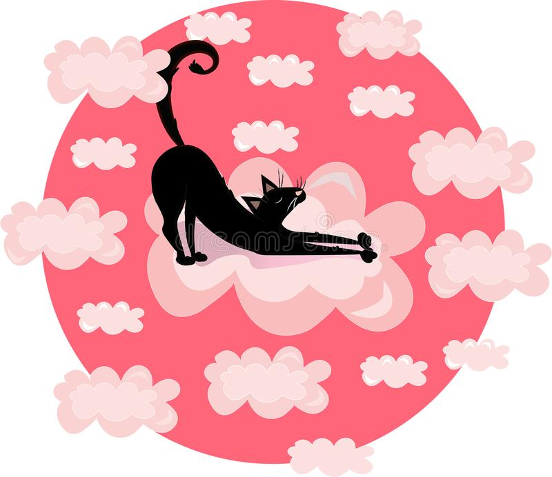 Vector funny print illustration with black cat, kitty in the clouds. Pink circle background. Vector funny print illustration with cat, kitty in the clouds. Pink vector illustration