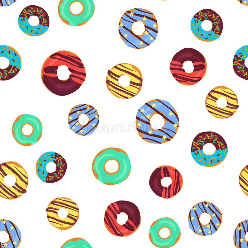 Vector funny seamless pattern with chocolate donuts, sprinkles donuts and colorful glaze donuts. vector illustration