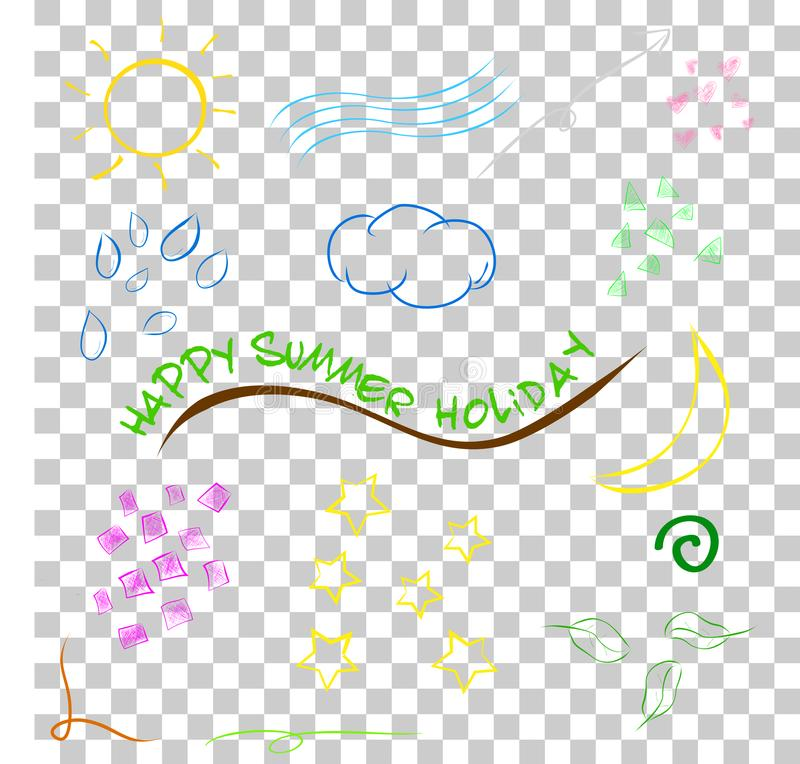 Funny simple doodle happy summer holiday element design at transparent effect background royalty free illustration