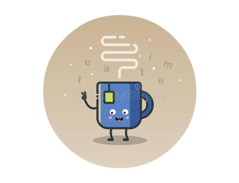 Vector funny tea cup cartoon character royalty free stock image