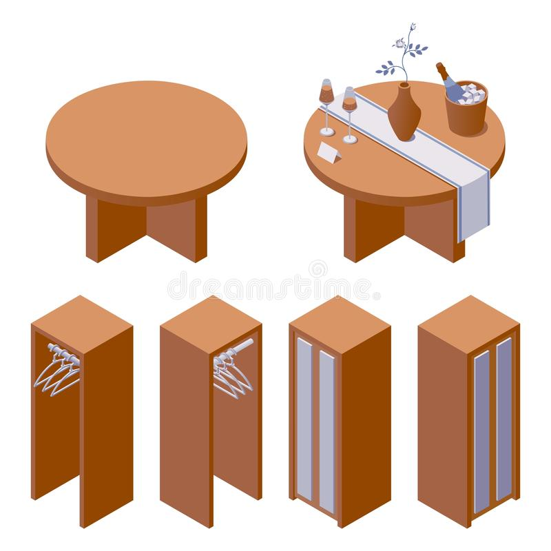 Vector furniture collection with decorated hotel table with rose in vase and sparkling wine and cupboard for clothes in isometric vector illustration