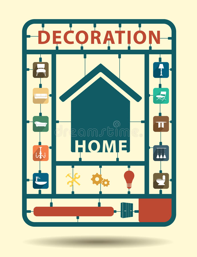 Vector furniture flat icons home decoration royalty free illustration