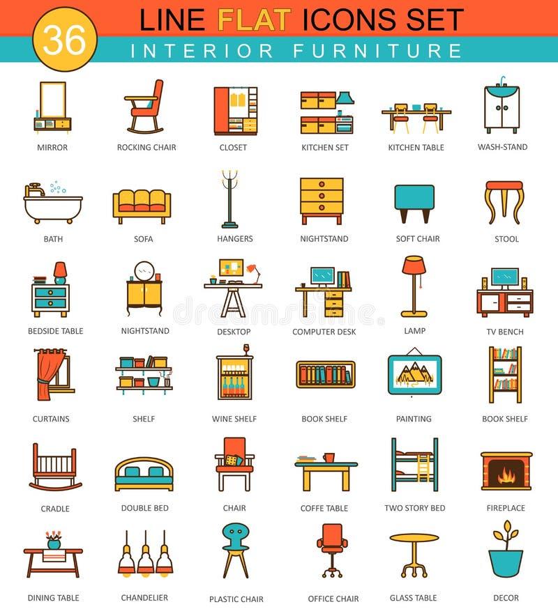 Vector furniture flat line icon set. Modern elegant style design for web. vector illustration