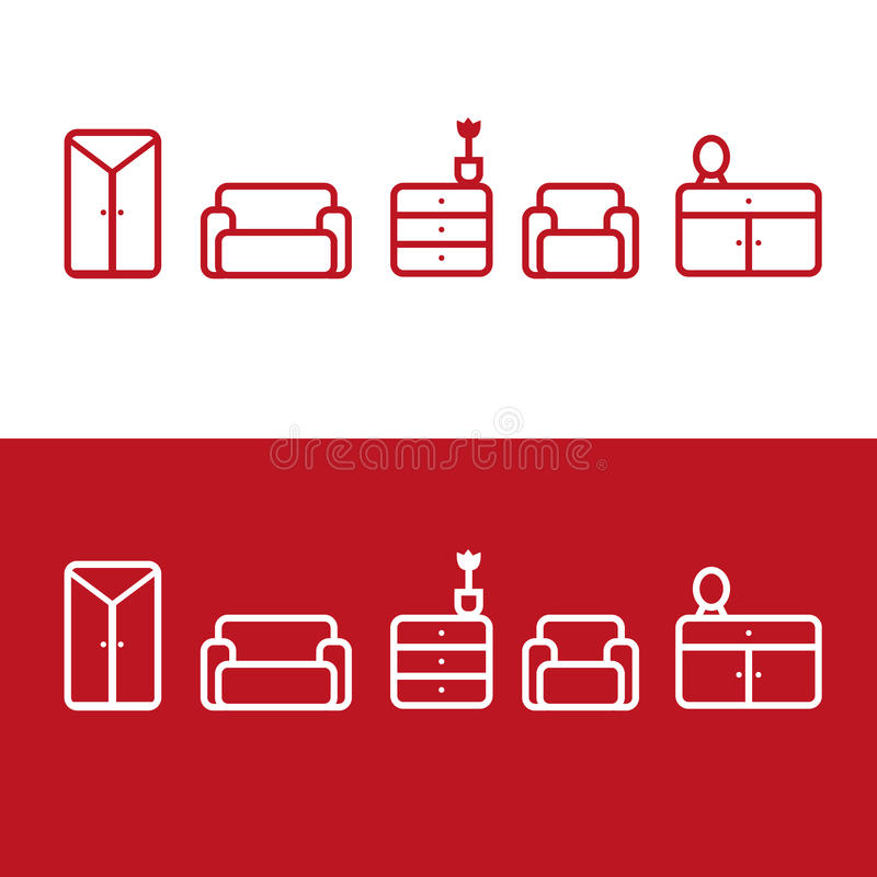 Vector Furniture icons. Vector red and white furniture line icons set royalty free illustration
