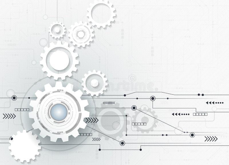 Vector futurista abstracto del ejemplo, rueda de engranaje del Libro Blanco 3d en placa de circuito stock de ilustración