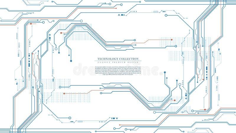 Vector futurista abstracto del fondo de la conexión de la tecnología que dirige digital libre illustration