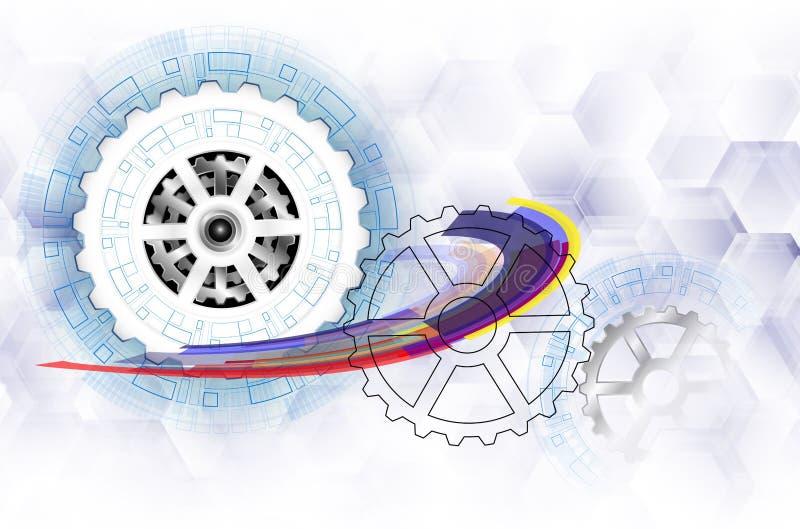 Vector futurista abstracto, rueda de engranaje del Libro Blanco 3d en placa de circuito Ejemplo de alta tecnología, dirigiendo, t stock de ilustración
