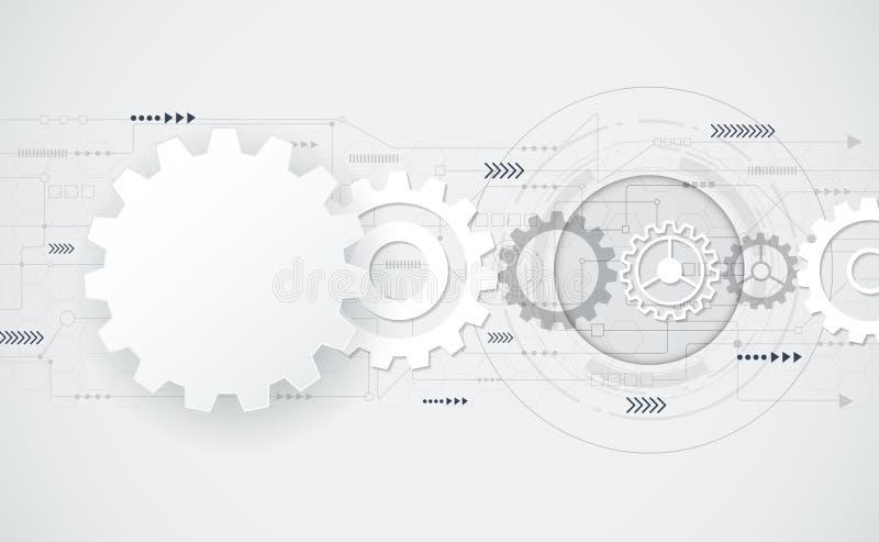 Vector futurista abstrato - roda de engrenagem na placa de circuito ilustração royalty free