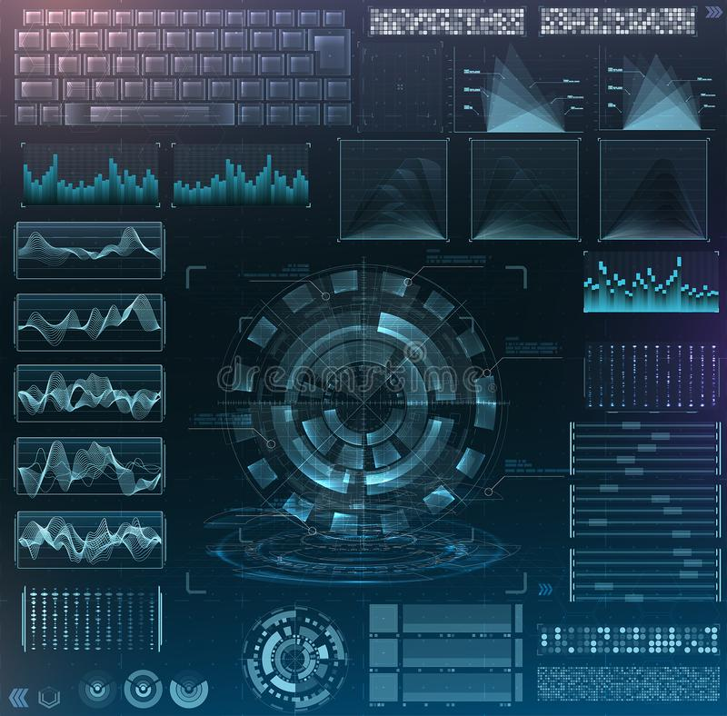 Vector futuristic interface hud design. Set infographic elements stock illustration