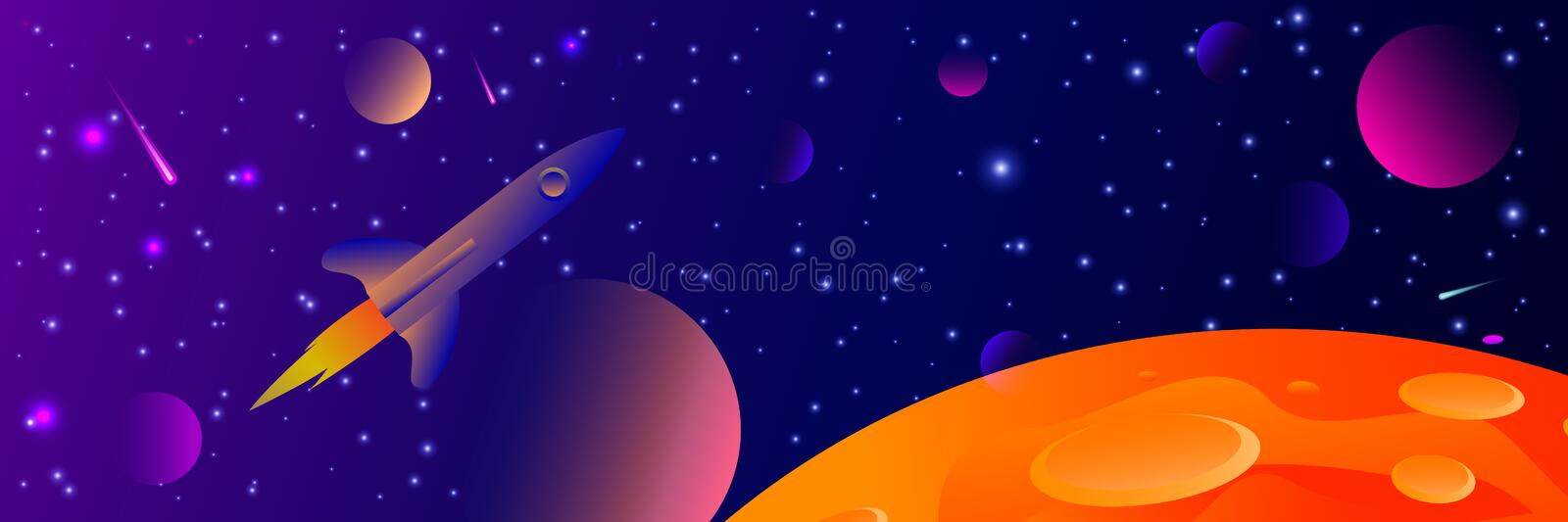 Vector futuristic space background with bright light planets and stars. Cosmos banner with neon light 3d objects and glowing. Tracks. Abstract universe with big stock illustration