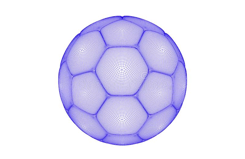 Vector futuristic sports concept of a soccer ball. Modern digital ball. High tech ball design. Ball made of line shapes stock illustration
