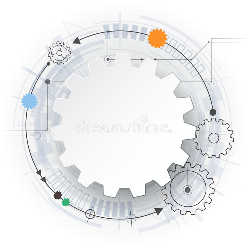 Vector futuristic technology, 3d white paper gear wheel on circuit board. Illustration hi-tech, engineering, digital telecoms concept. With space for content royalty free illustration