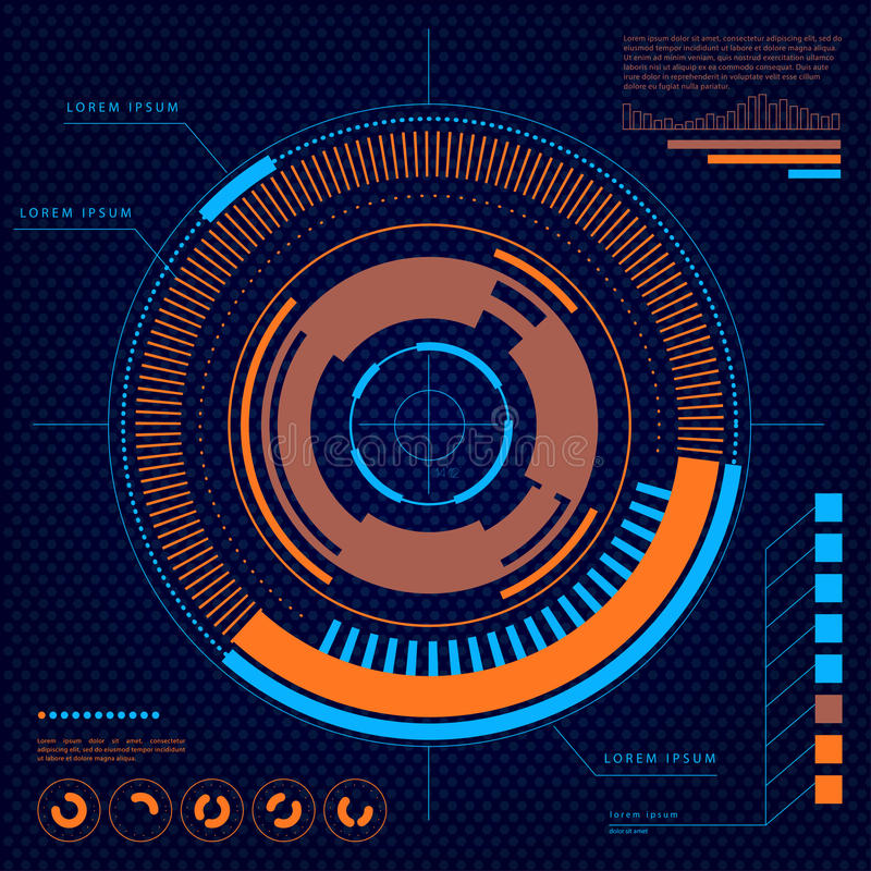 Vector futuristic user interface design elements. Target, aim HUD display template illustration. Head-up concept background. Scientific screen backdrop design stock illustration