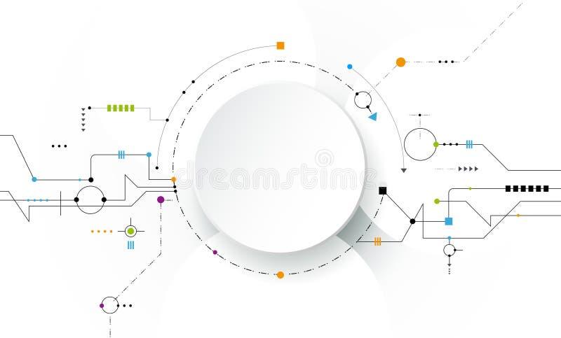 Vector futuristische illustratiesamenvatting, kringsraad op lichtgrijze achtergrond royalty-vrije illustratie